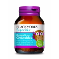 【最划算】Blackmores 百丽康 超级儿童omega鱼油咀嚼片 50片(Omega Brain)保质期至19.08