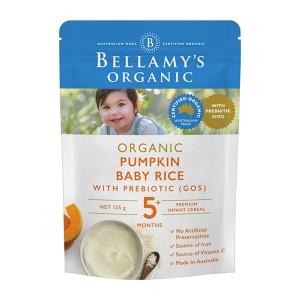 【澳洲直邮】Bellamy's 贝拉米 有机婴幼儿南瓜益生元米粉125g 5个月以上 125g 参考日期21.1